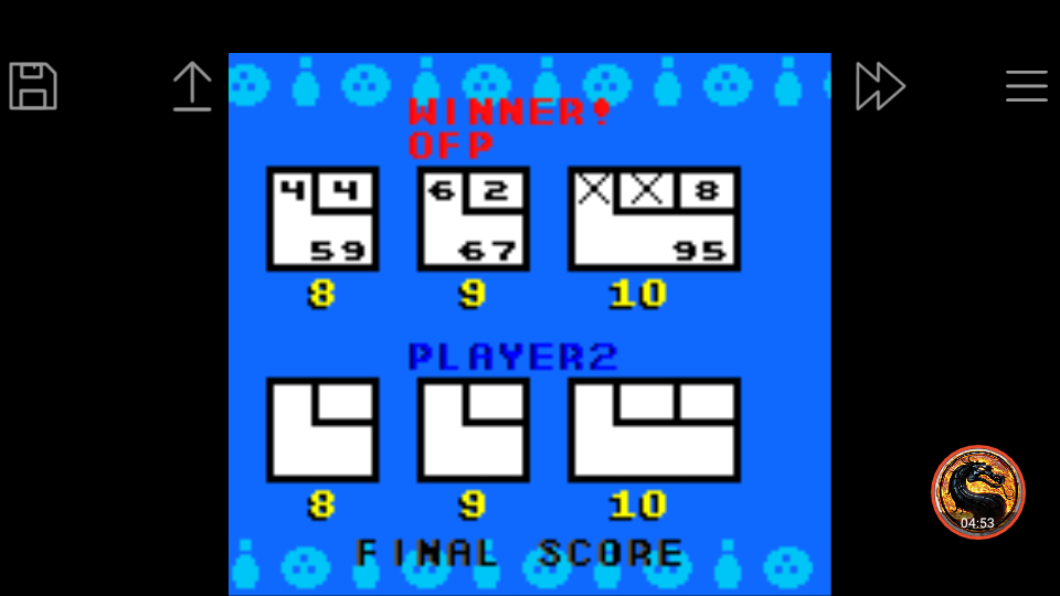 omargeddon: 10-Pin Bowling (Game Boy Color Emulated) 95 points on 2019-03-31 11:11:01