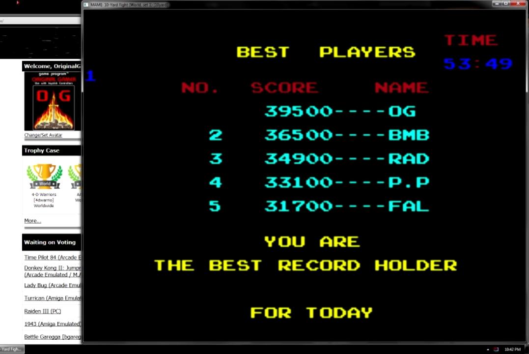 OriginalGamer: 10 Yard Fight (Arcade Emulated / M.A.M.E.) 39,500 points on 2015-07-19 03:54:39