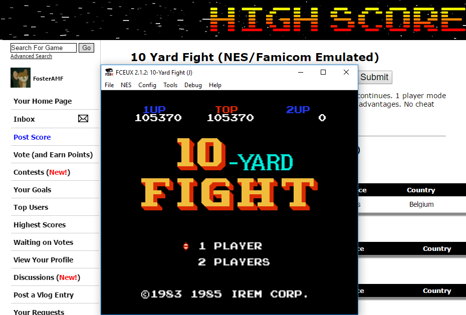 FosterAMF: 10 Yard Fight (NES/Famicom Emulated) 105,370 points on 2016-01-19 19:10:03