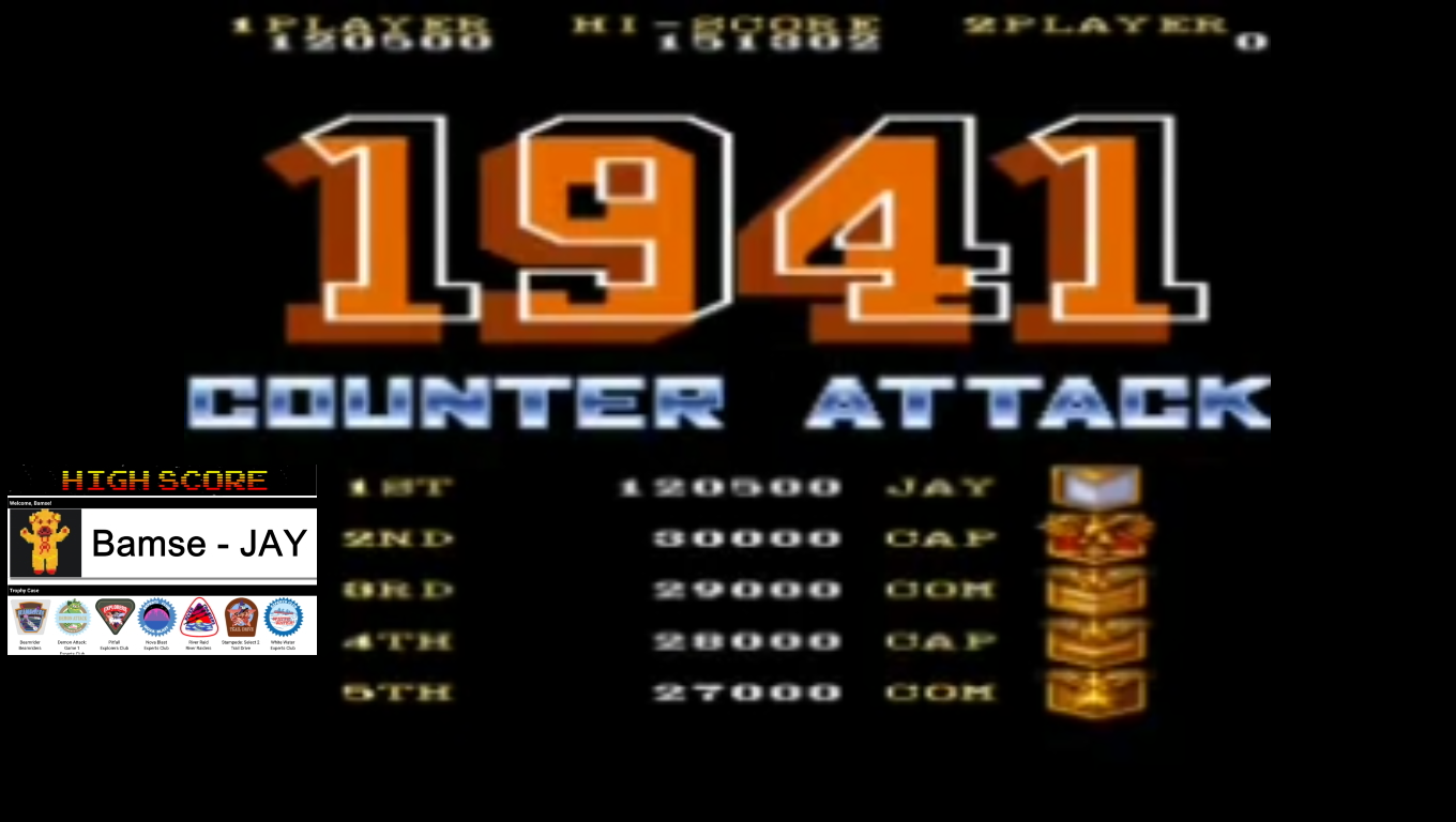 Bamse: 1941: Counter Attack [Auto-Fire Allowed] [1941] (Arcade Emulated / M.A.M.E.) 120,500 points on 2019-12-05 17:02:30