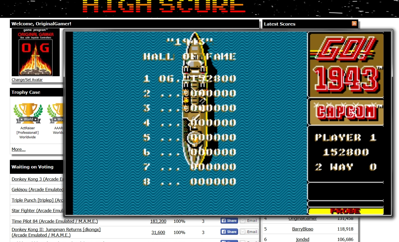 OriginalGamer: 1943 (Amiga Emulated) 152,800 points on 2015-07-16 18:24:24