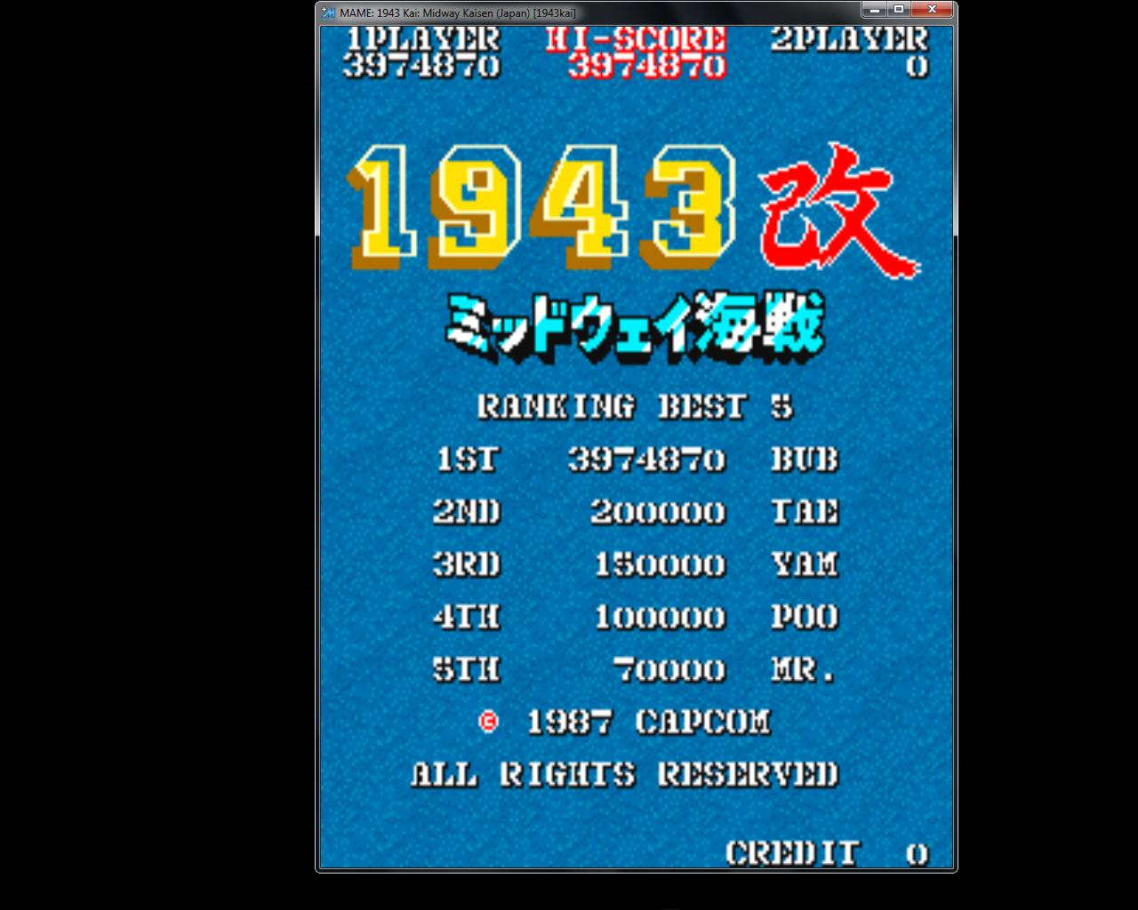 bubufubu: 1943 Kai: Midway Kaisen [Japan] [1943kai] (Arcade Emulated / M.A.M.E.) 3,974,870 points on 2015-08-03 22:44:56