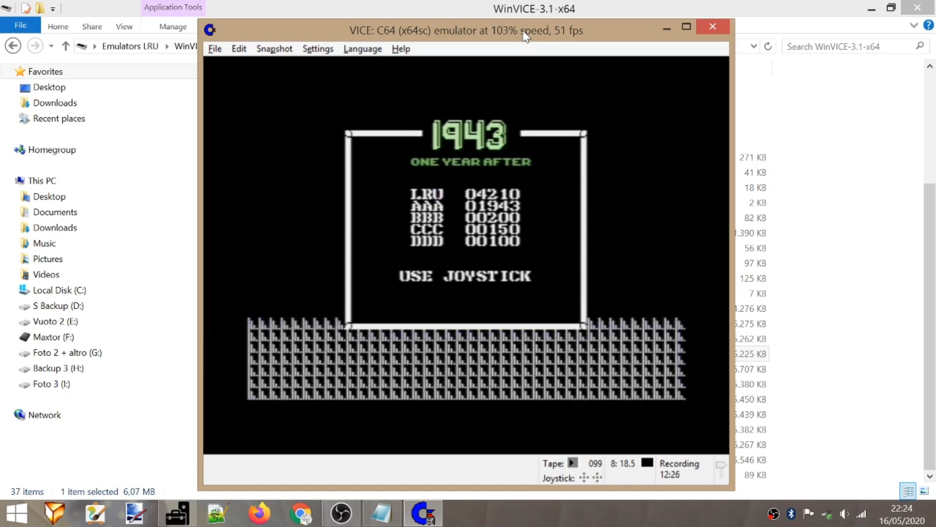 LuigiRuffolo: 1943: One Year After (Commodore 64 Emulated) 4,210 points on 2020-05-16 16:43:13