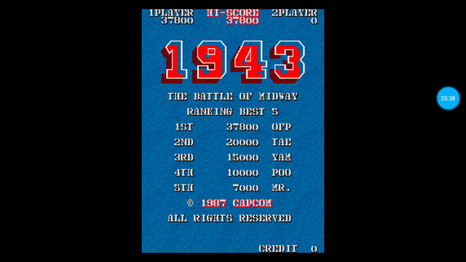 omargeddon: 1943: The Batttle Of Midway [1943b] (Arcade Emulated / M.A.M.E.) 37,800 points on 2018-07-17 21:21:30