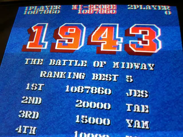 JES: 1943: The Batttle Of Midway [1943b] (Arcade Emulated / M.A.M.E.) 1,087,860 points on 2018-08-19 17:41:36