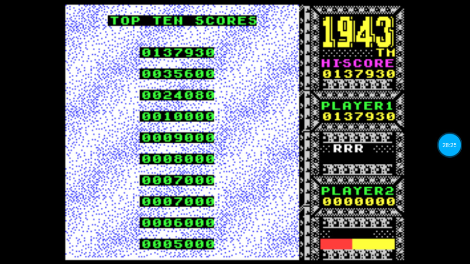 omargeddon: 1943 (ZX Spectrum Emulated) 137,930 points on 2018-07-10 23:42:13