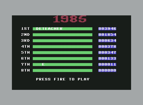Deteacher: 1985: The Day After (Commodore 64 Emulated) 3,946 points on 2015-11-24 09:12:00