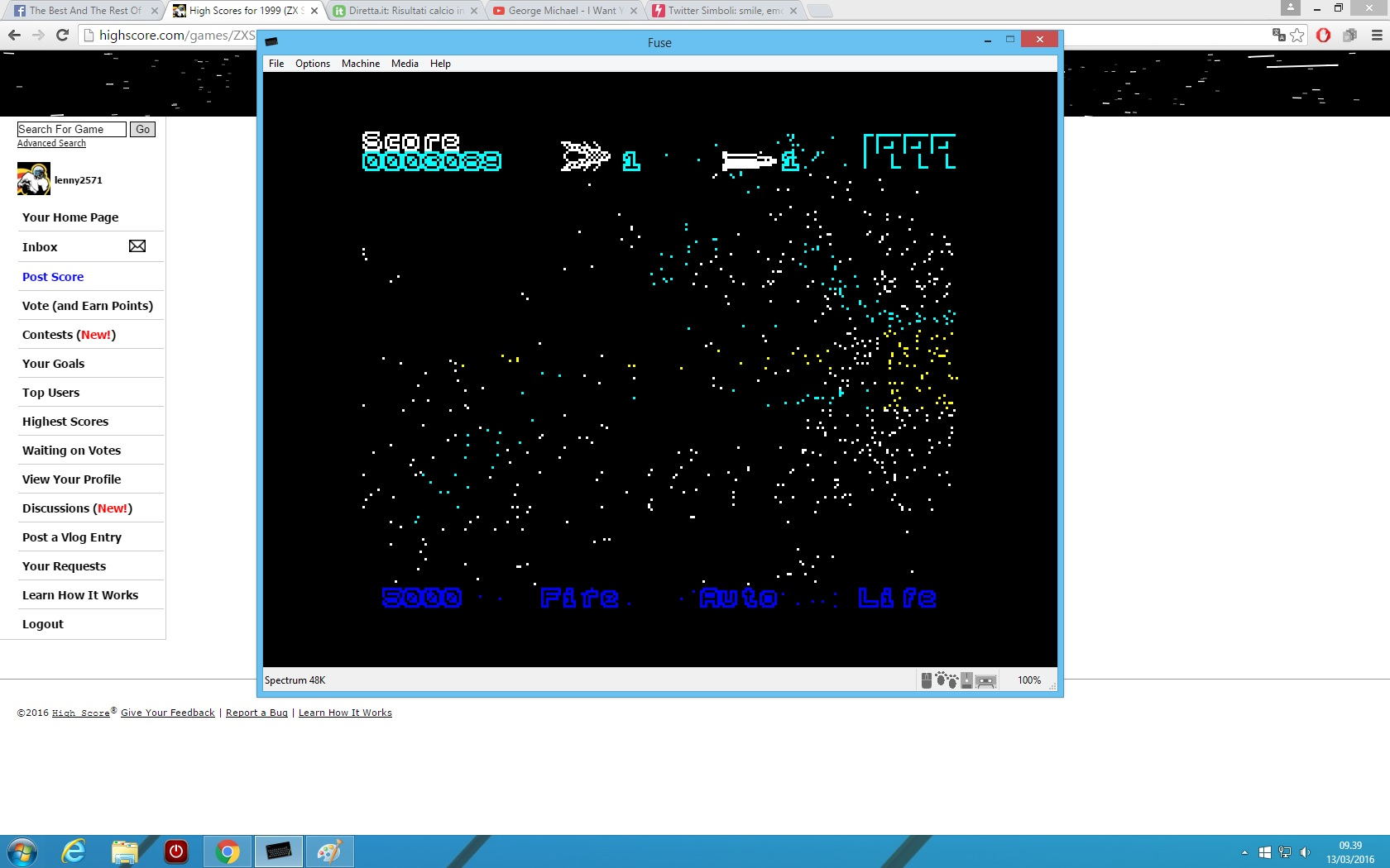 lenny2571: 1999 (ZX Spectrum Emulated) 3,089 points on 2016-03-13 03:40:17