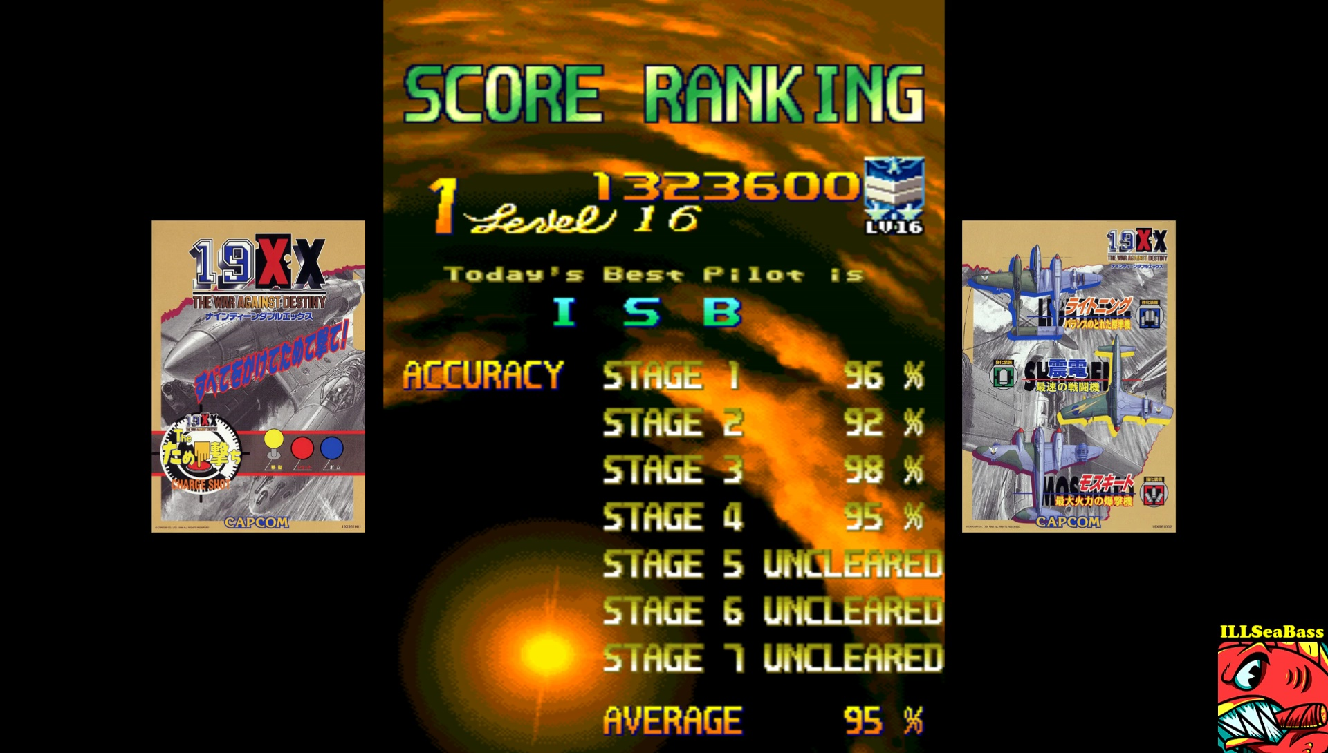 ILLSeaBass: 19XX War Against Destiny (Arcade Emulated / M.A.M.E.) 1,323,600 points on 2017-07-09 22:05:11