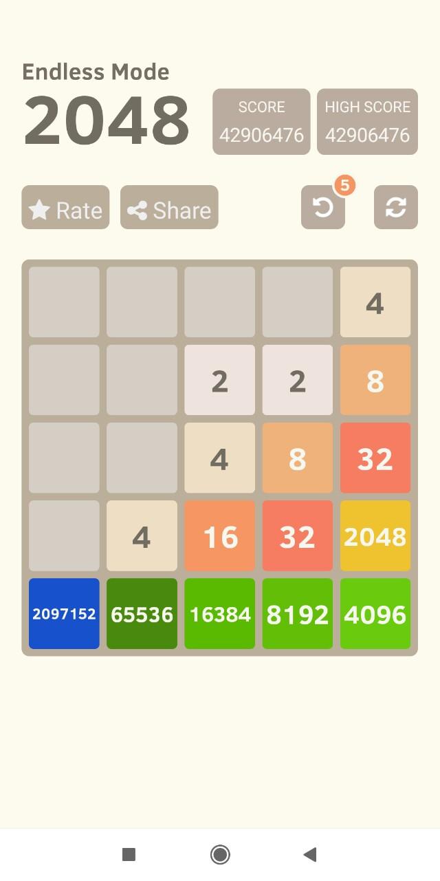 2048 [5x5 Board] 42,906,476 points