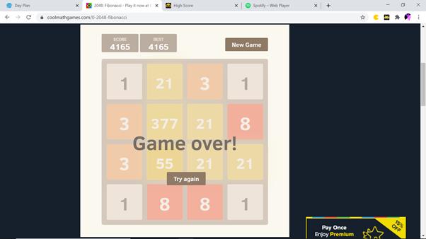 Colsobs: 2048: Fibonacci (Web) 4,165 points on 2021-02-21 18:26:55