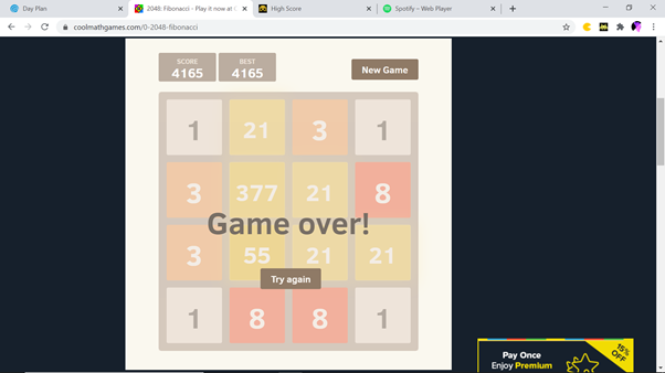 2048: Fibonacci 4,165 points
