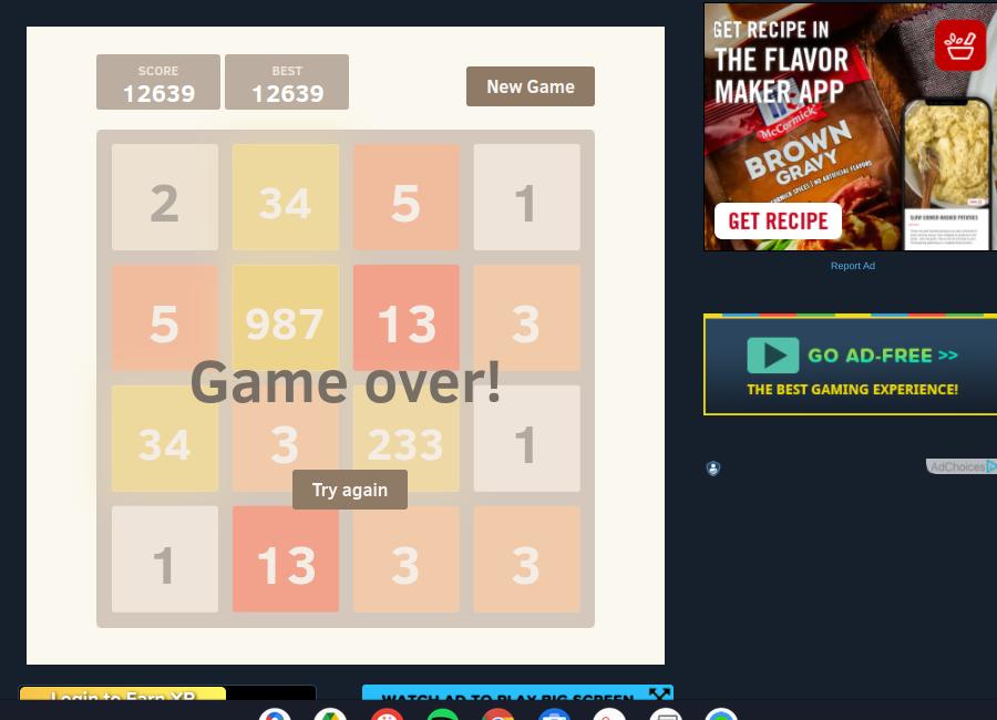 2048: Fibonacci 12,639 points