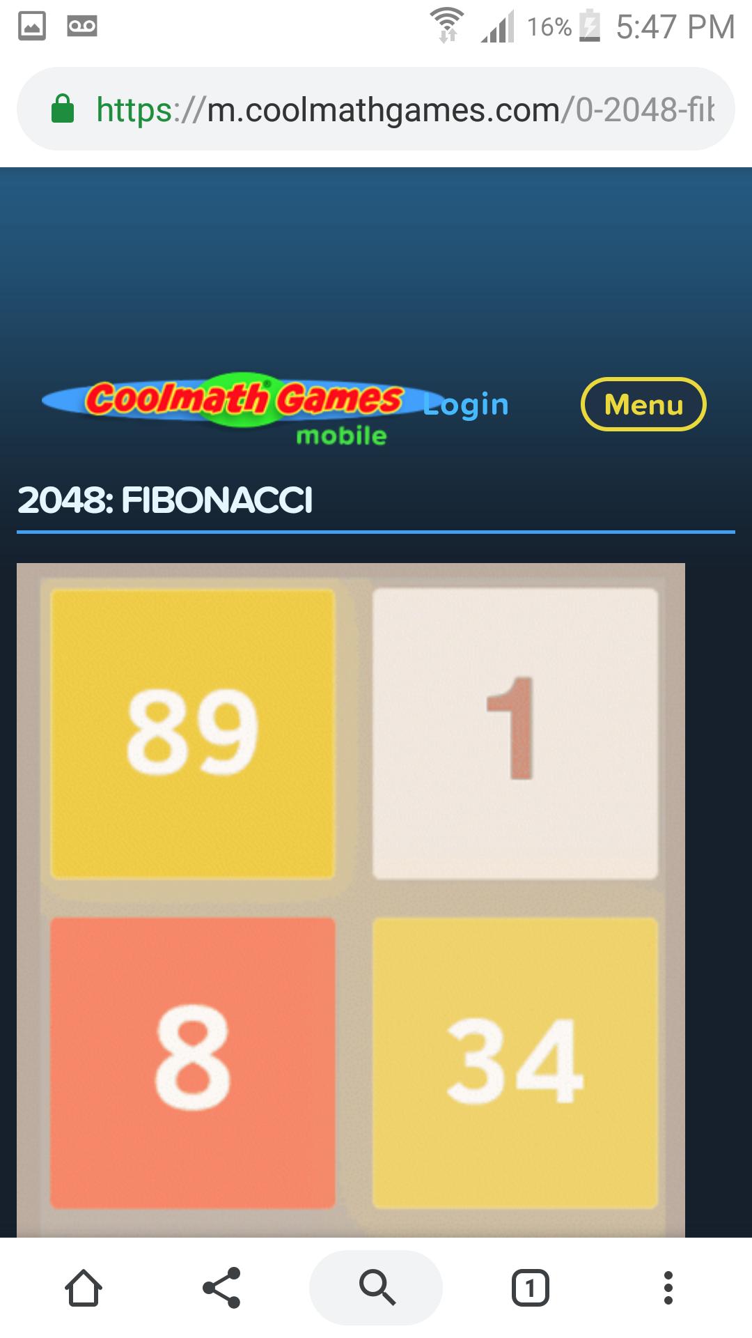 ministorm04: 2048: Fibonacci (Web) 1,039 points on 2019-06-25 11:52:41