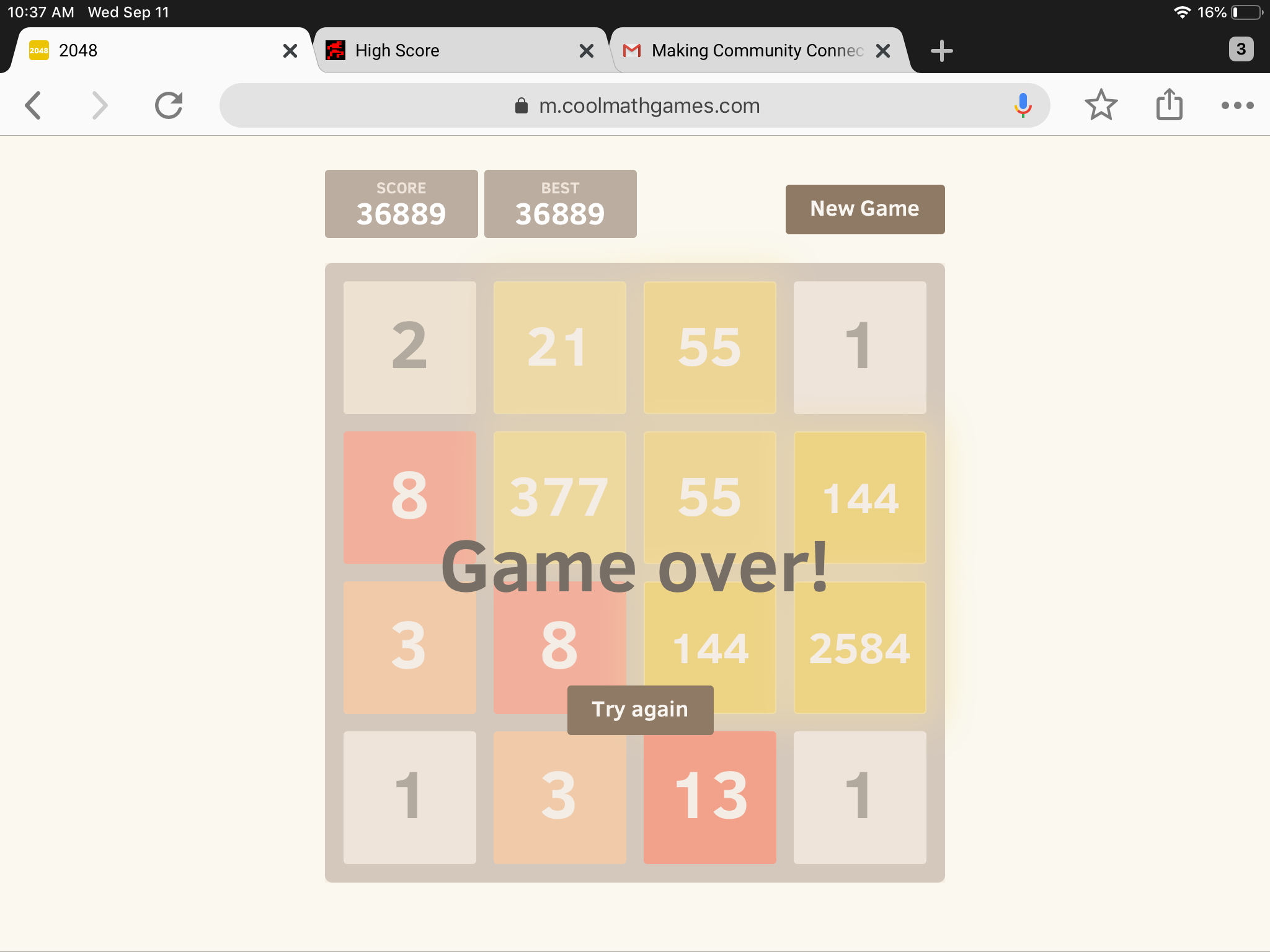 2048: Fibonacci 36,889 points