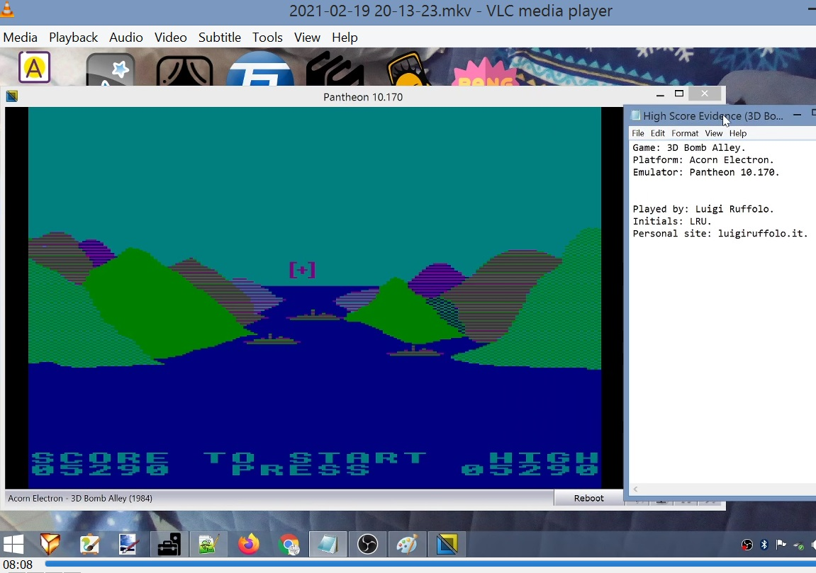 LuigiRuffolo: 3D Bomb Alley (Acorn Electron Emulated) 5,290 points on 2021-02-19 13:34:14