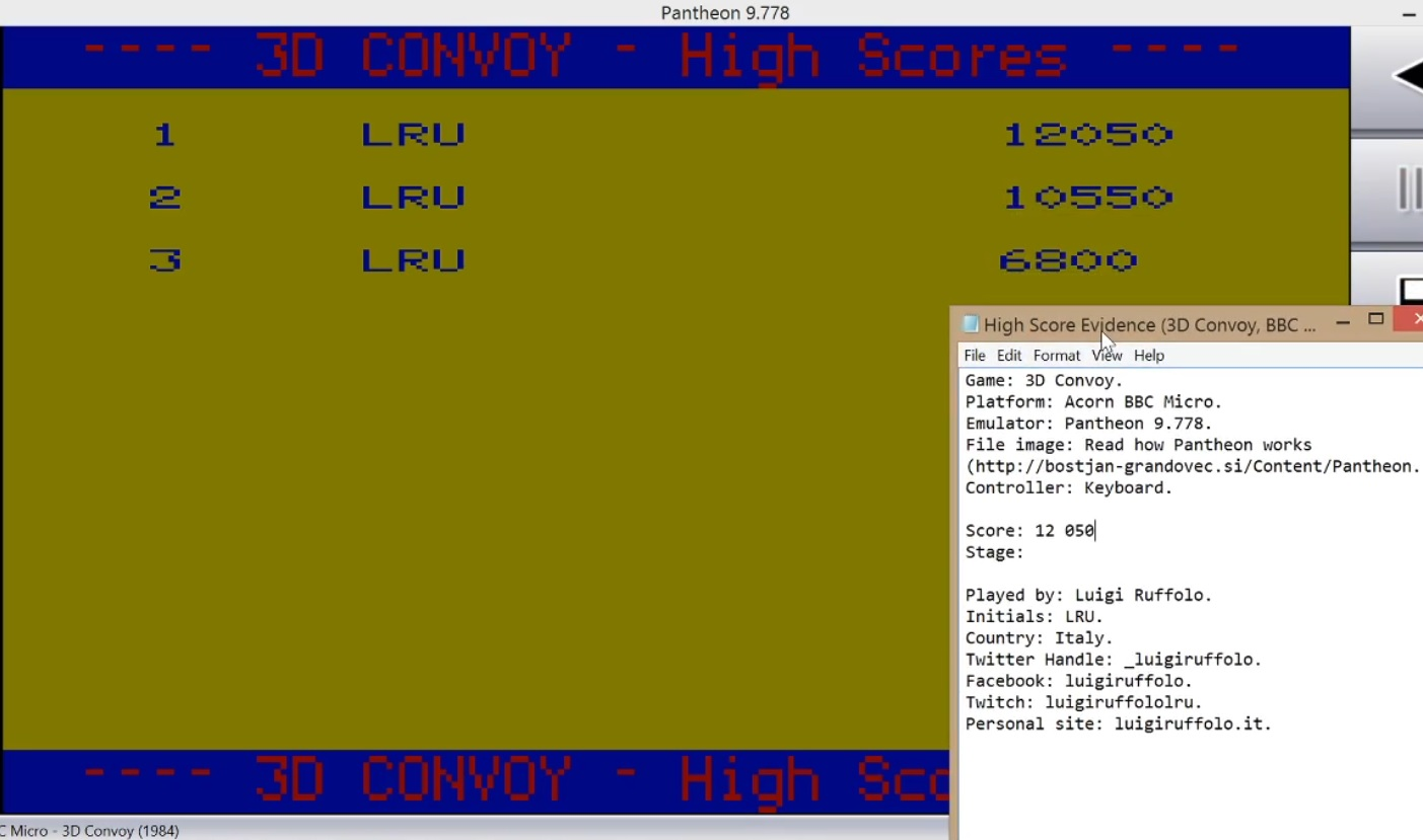 LuigiRuffolo: 3D Convoy (BBC Micro Emulated) 12,050 points on 2020-08-03 17:04:53