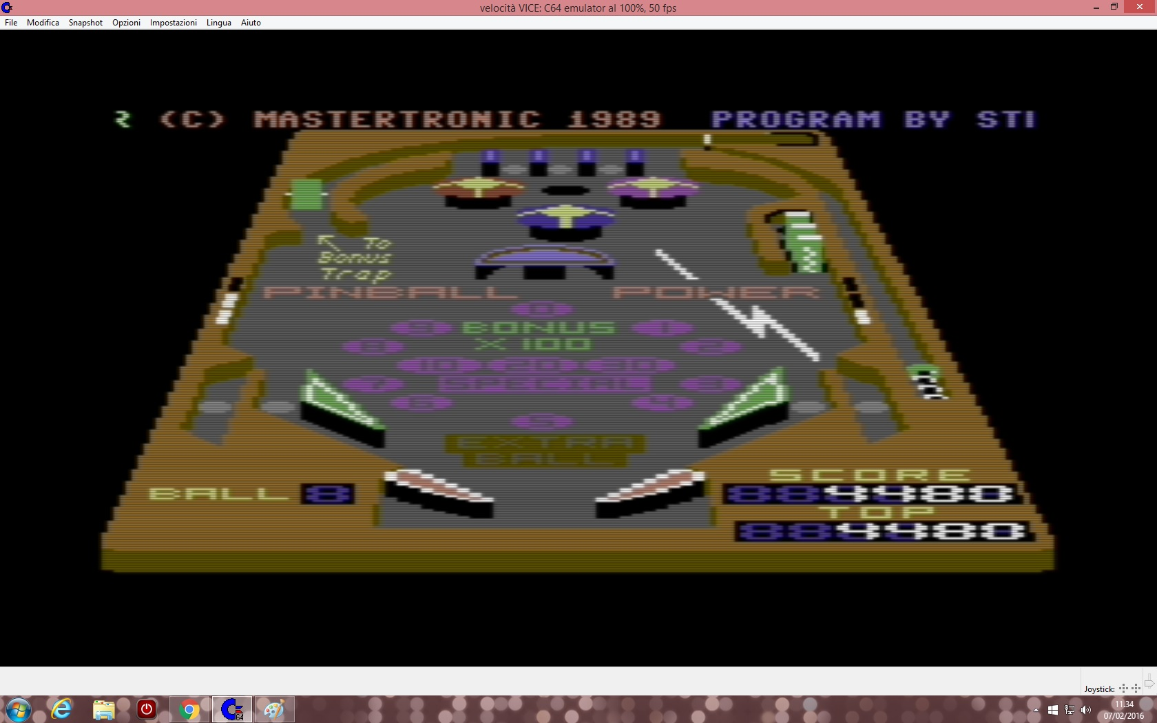 lenny2571: 3D Pinball (Commodore 64 Emulated) 4,480 points on 2016-02-07 04:34:47