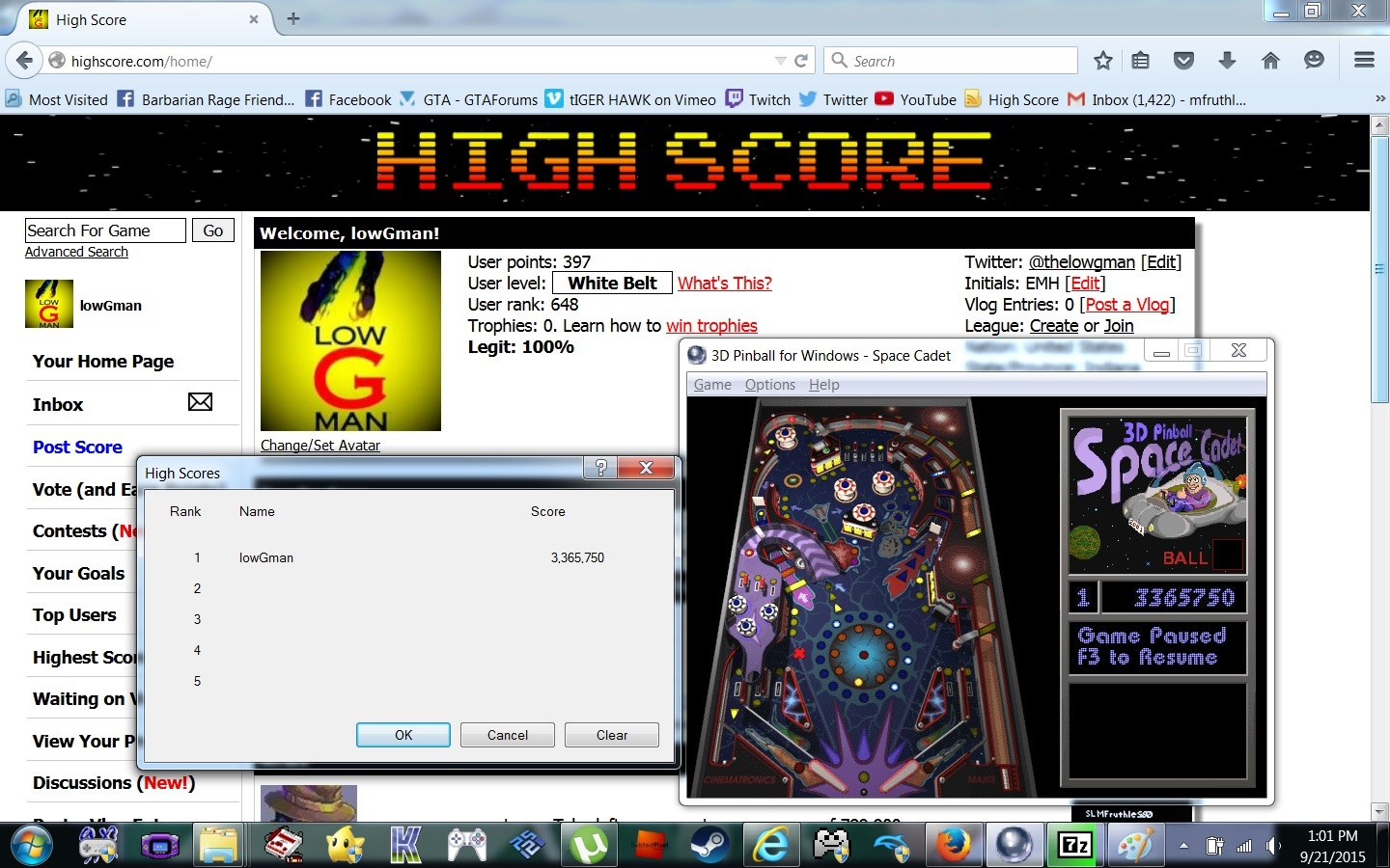 lowGman: 3D Pinball: Space Cadet (PC) 3,365,750 points on 2015-09-21 13:03:22