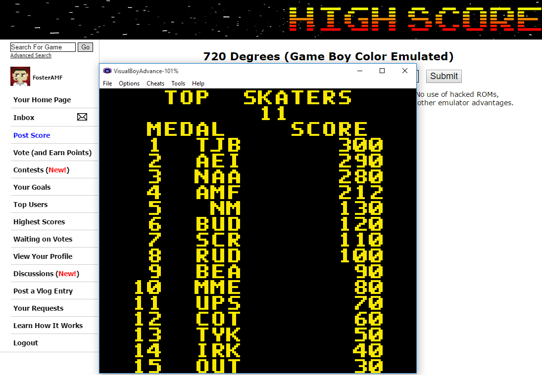 FosterAMF: 720 Degrees [Medal Score] (Game Boy Color Emulated) 212 points on 2015-10-06 00:28:22