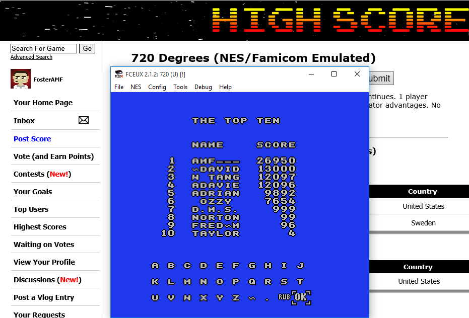 FosterAMF: 720 Degrees (NES/Famicom Emulated) 26,950 points on 2015-08-30 17:38:27