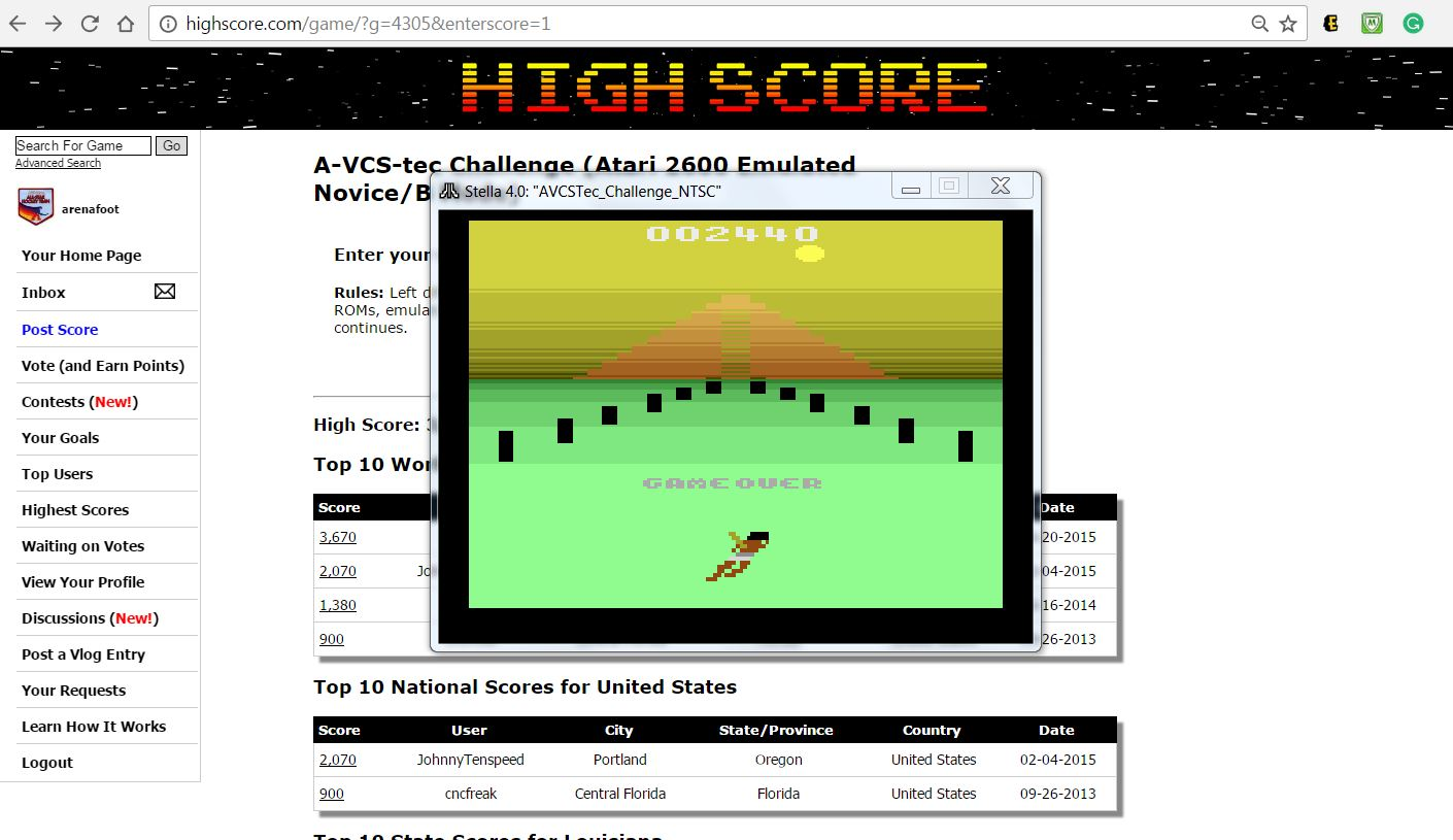 arenafoot: A-VCS-tec Challenge (Atari 2600 Emulated Novice/B Mode) 2,440 points on 2017-03-16 18:25:21