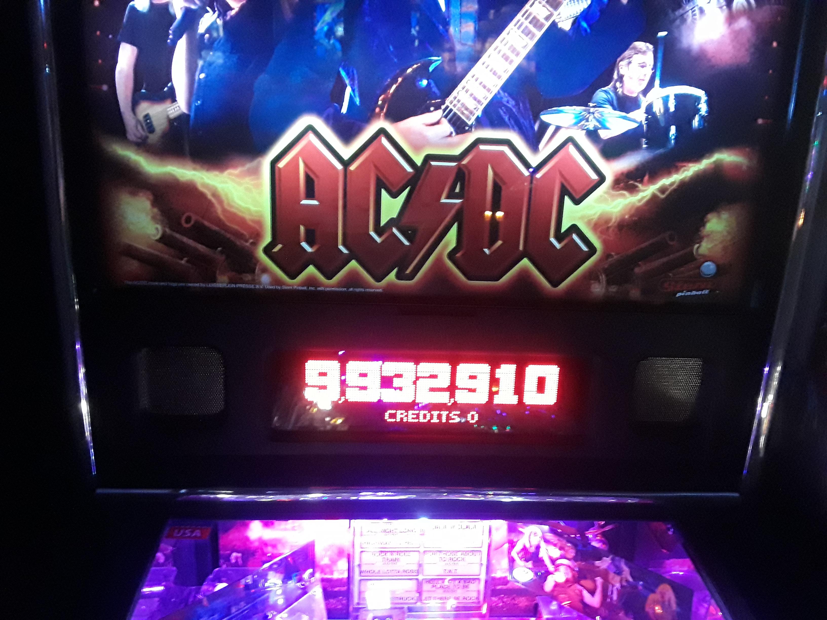 JML101582: AC/DC (Pinball: 3 Balls) 9,932,910 points on 2019-02-16 04:19:24