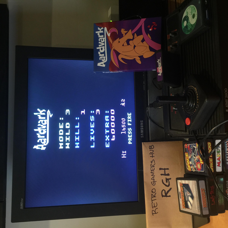 RetroGamersHub: Aardvark [Wild 3] (Atari 2600) 16,500 points on 2020-05-18 23:04:36