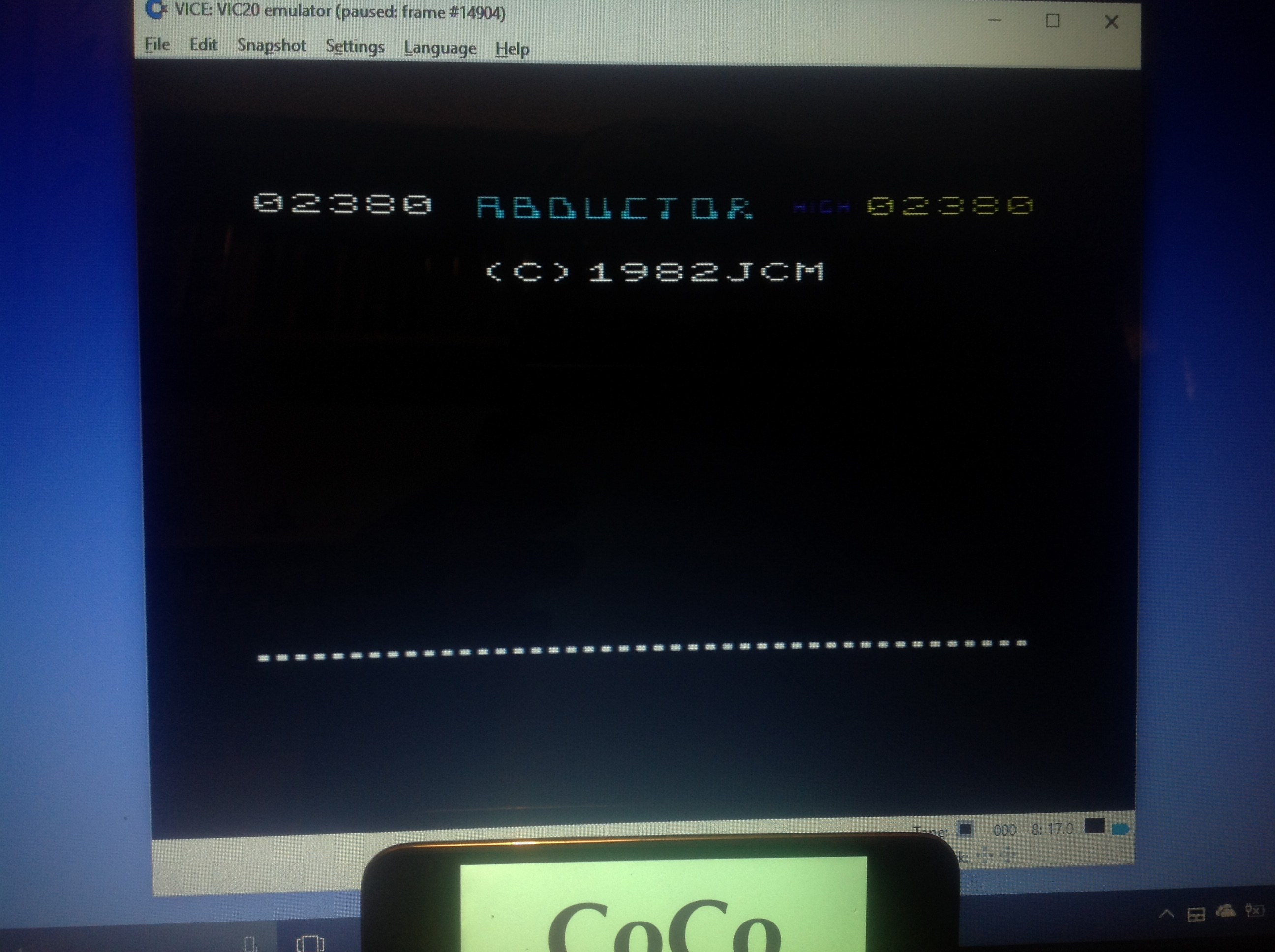 CoCoForest: Abductor (Commodore VIC-20 Emulated) 2,380 points on 2018-01-21 10:43:02