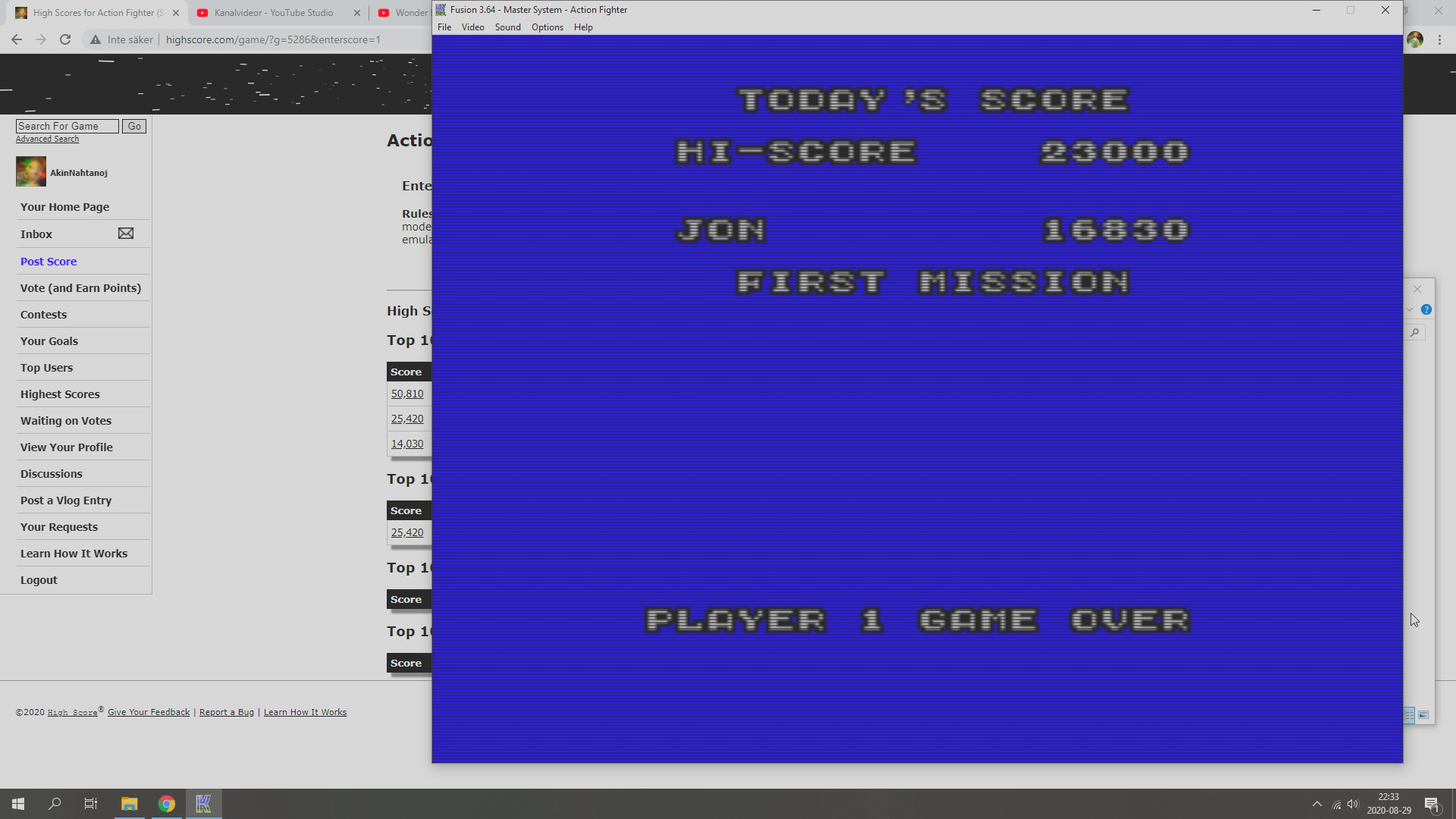 AkinNahtanoj: Action Fighter (Sega Master System Emulated) 16,830 points on 2020-08-29 15:42:49