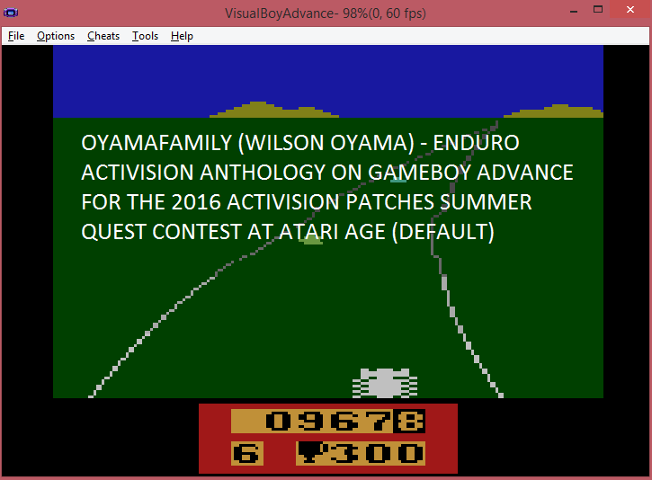 oyamafamily: Activision Anthology: Enduro [Game 1B] (GBA Emulated) 967 points on 2016-06-25 05:39:09