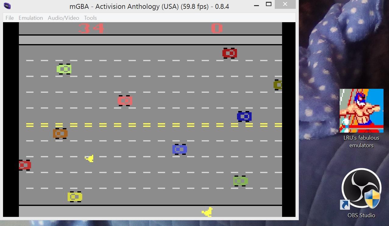 LuigiRuffolo: Activision Anthology: Freeway [Game 1B] (GBA Emulated) 34 points on 2020-12-24 13:19:31