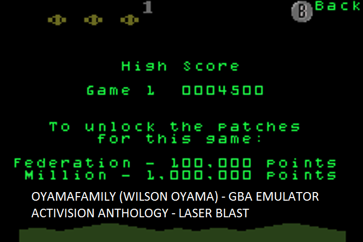 oyamafamily: Activision Anthology: Laser Blast [Game 1B] (GBA Emulated) 4,500 points on 2017-01-28 09:58:05