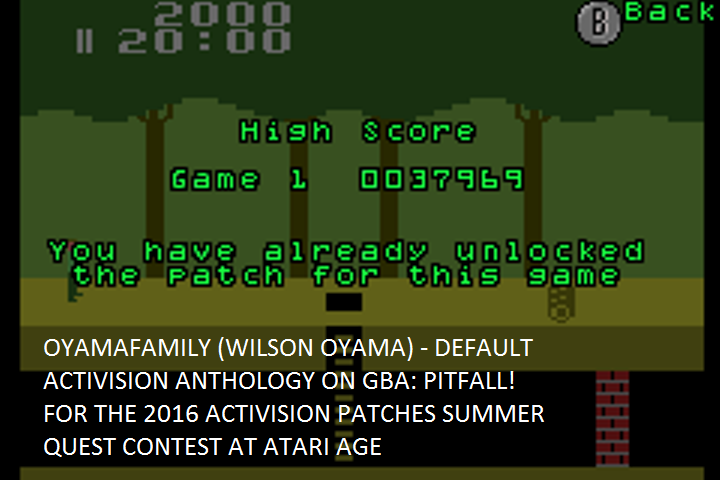 oyamafamily: Activision Anthology: Pitfall! [Game 1B] (GBA Emulated) 37,969 points on 2016-07-11 17:14:22