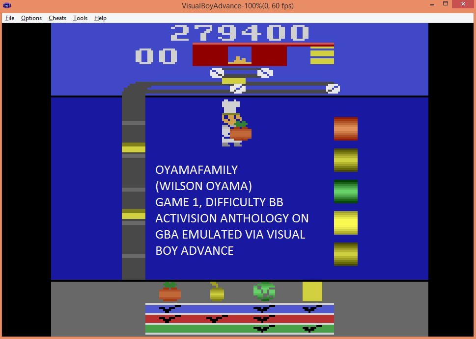 oyamafamily: Activision Anthology: Pressure Cooker [Game 1B] (GBA Emulated) 279,400 points on 2015-07-30 18:22:53