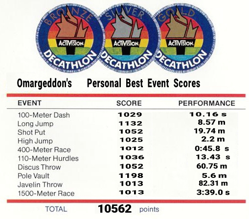 omargeddon: Activision Decathlon (Atari 2600) 10,562 points on 2017-07-31 19:00:38