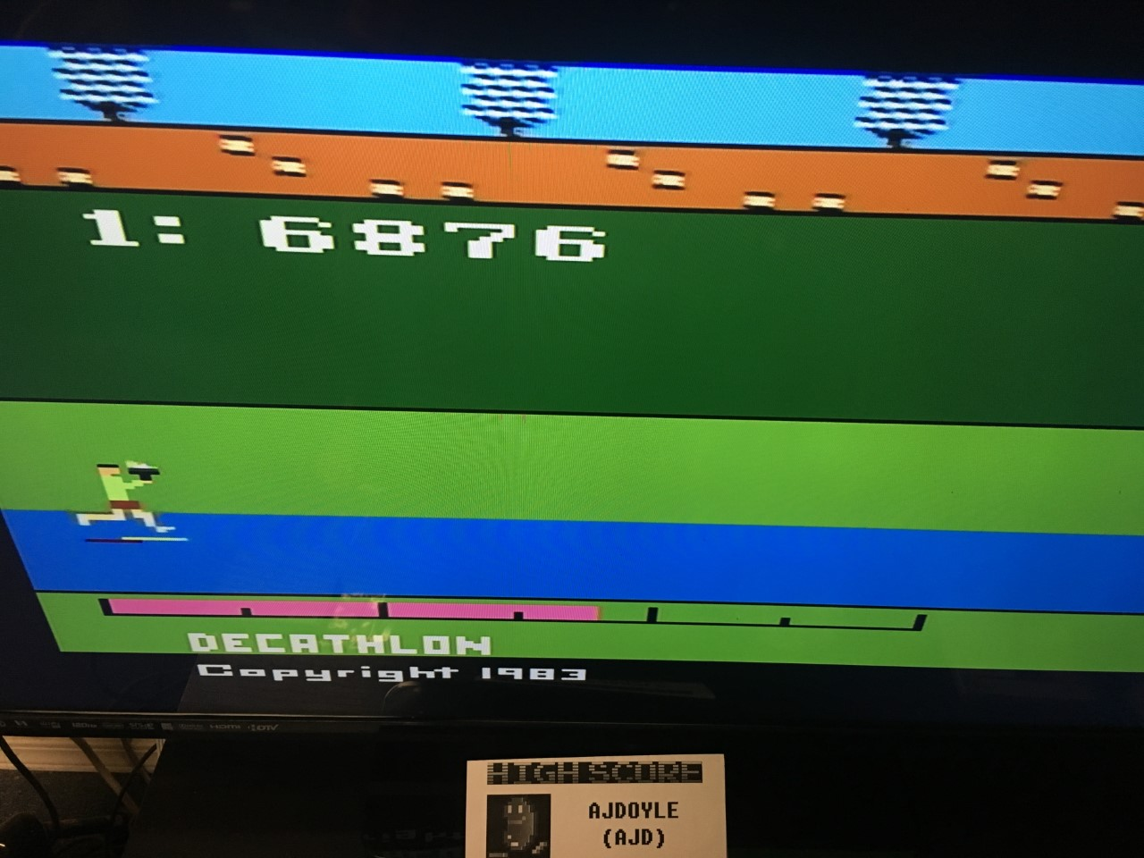 ajdoyle: Activision Decathlon (Atari 2600 Emulated) 6,876 points on 2018-03-05 00:48:28