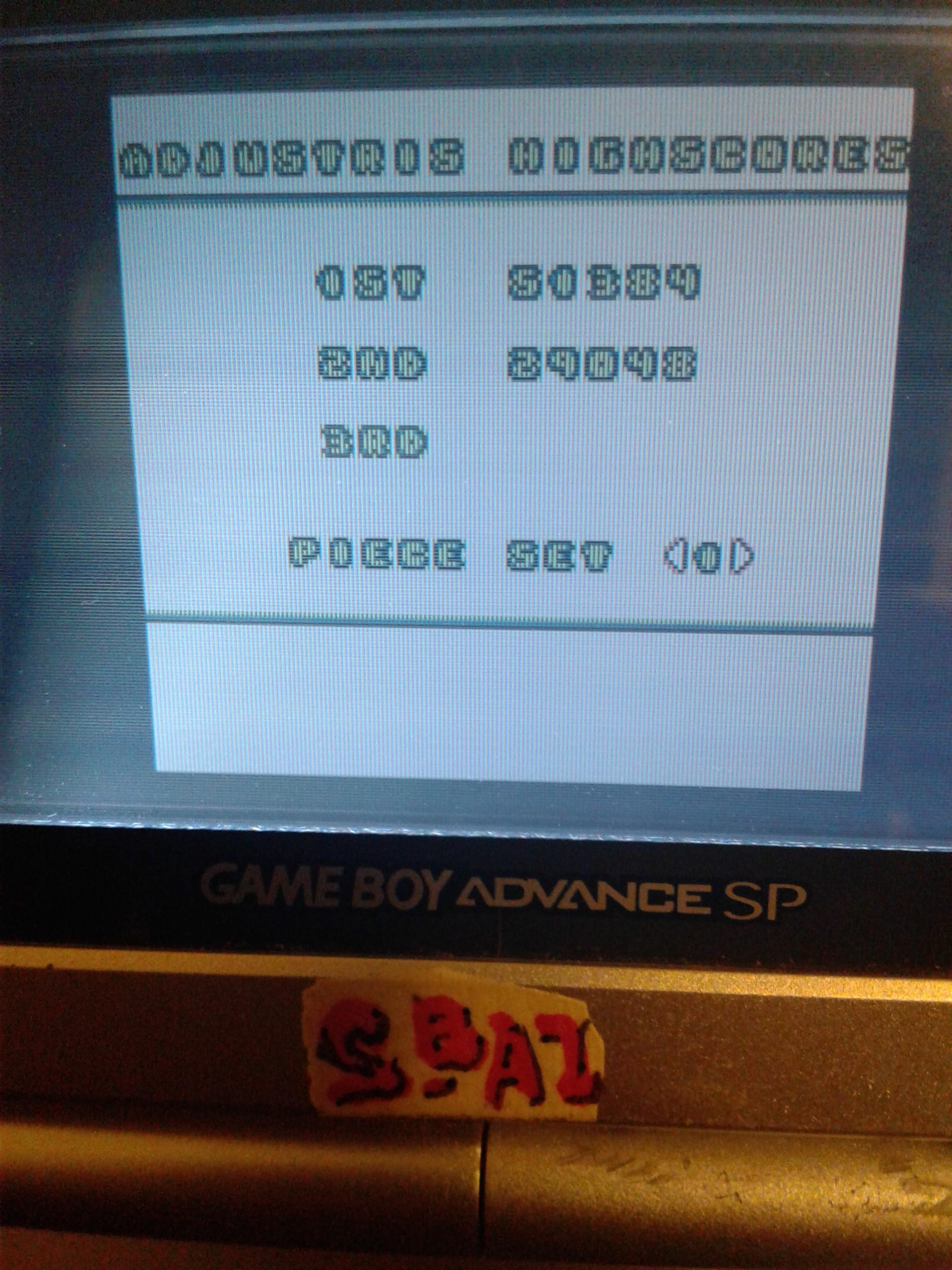 S.BAZ: Adjustris (Game Boy) 51,384 points on 2019-10-22 00:12:36