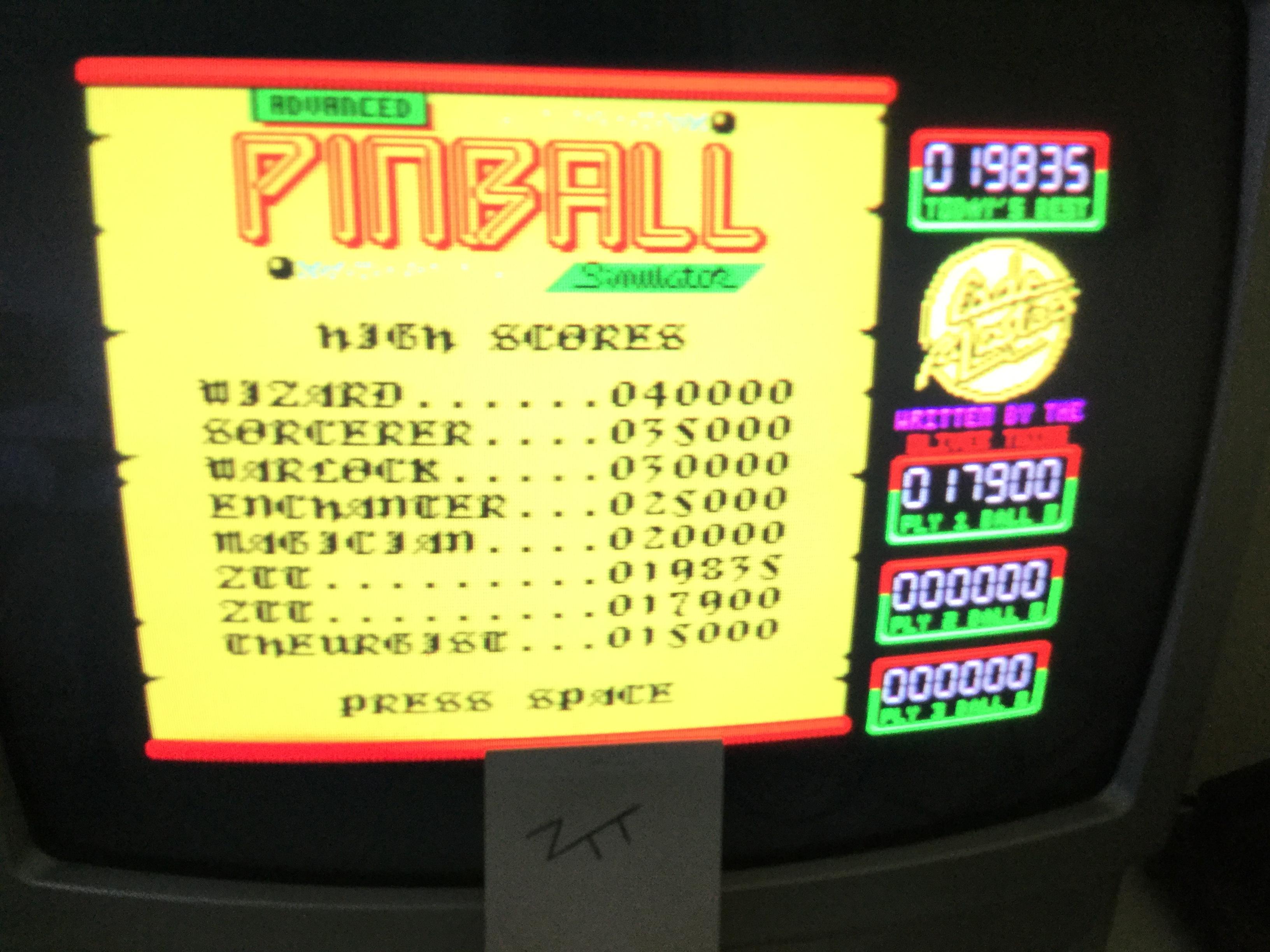 Frankie: Advanced Pinball Simulator (ZX Spectrum) 19,835 points on 2017-06-01 06:07:55