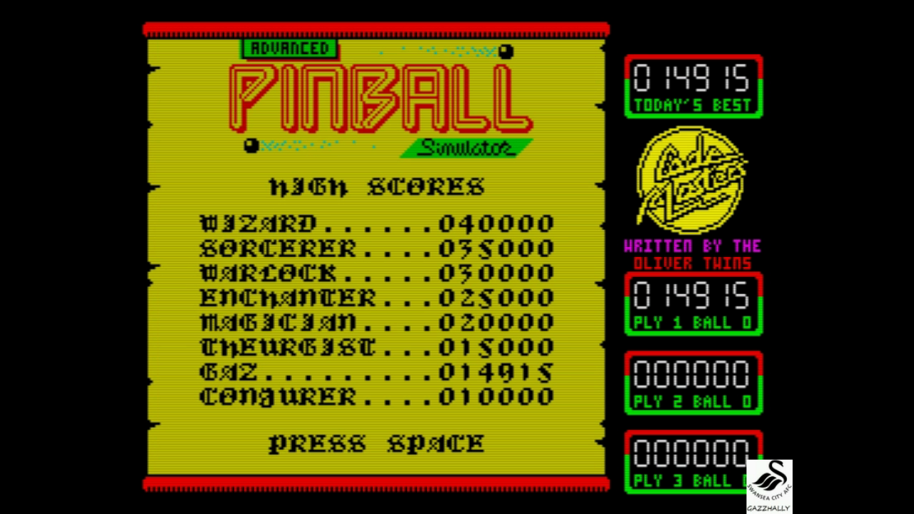 gazzhally: Advanced Pinball Simulator (ZX Spectrum Emulated) 14,915 points on 2017-08-04 13:30:35