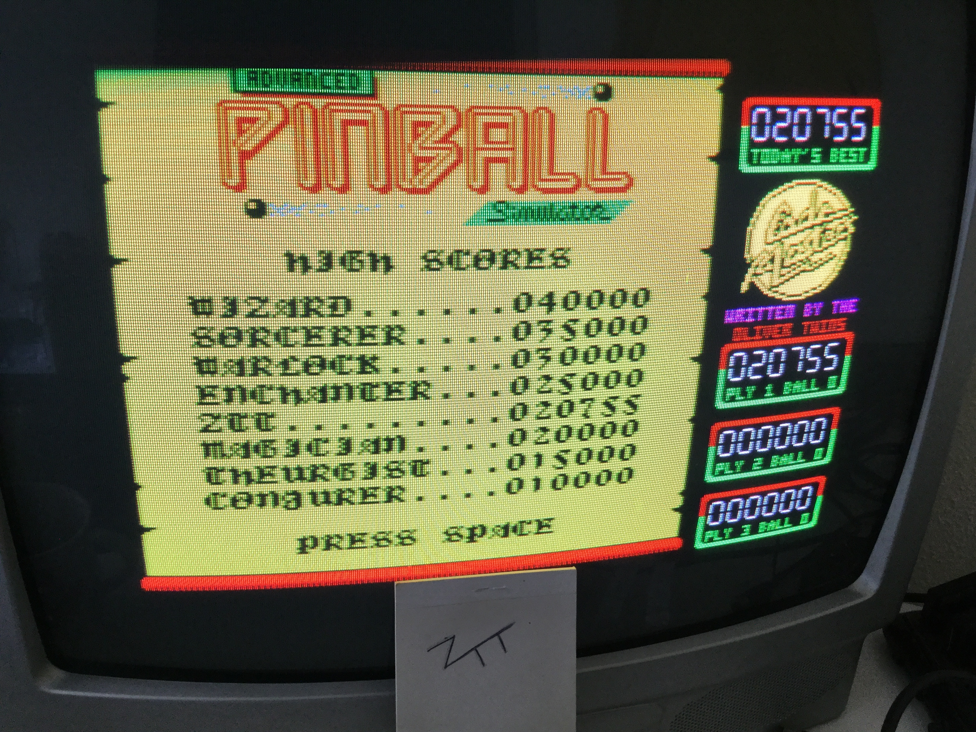 Frankie: Advanced Pinball Simulator (ZX Spectrum) 20,755 points on 2018-07-15 03:52:05