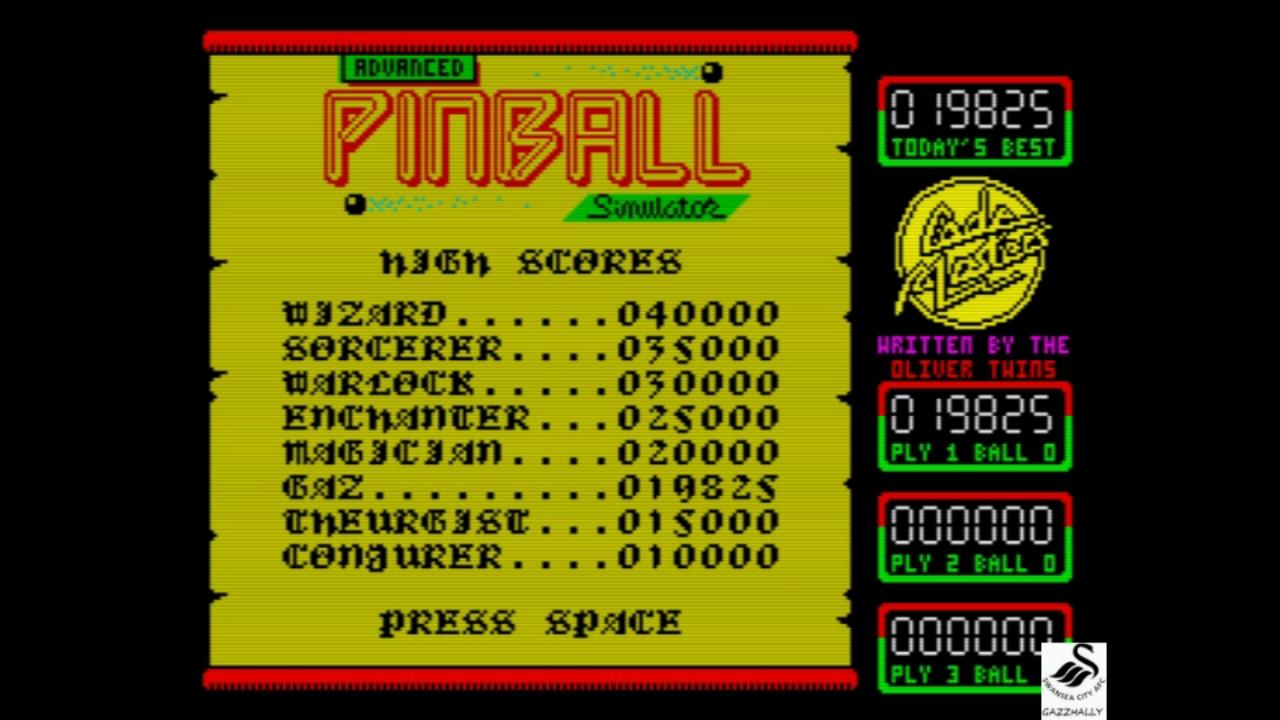 gazzhally: Advanced Pinball Simulator (ZX Spectrum Emulated) 19,825 points on 2018-11-01 14:51:13