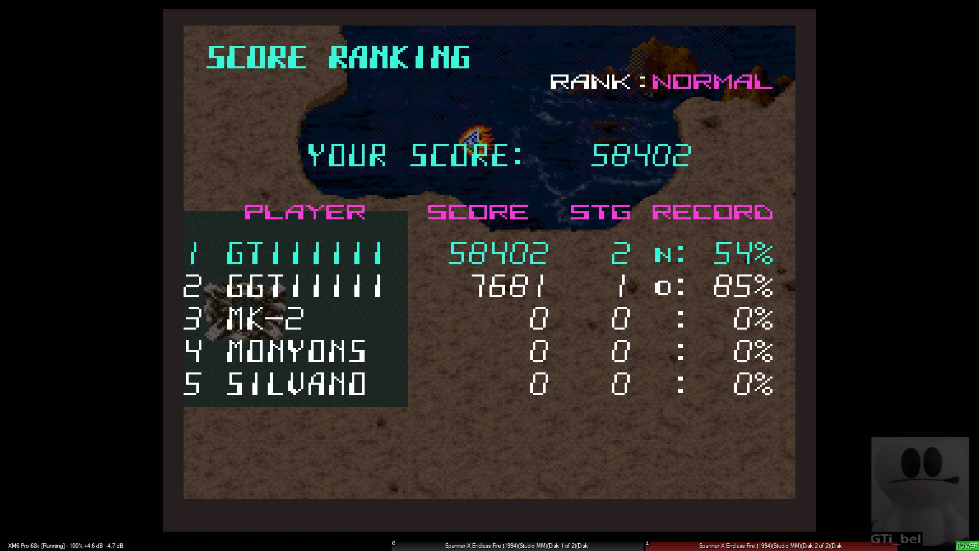 GTibel: Advanced Spanner X Endless Fire [Normal] (Sharp X68000 Emulated) 58,402 points on 2020-01-28 15:42:36