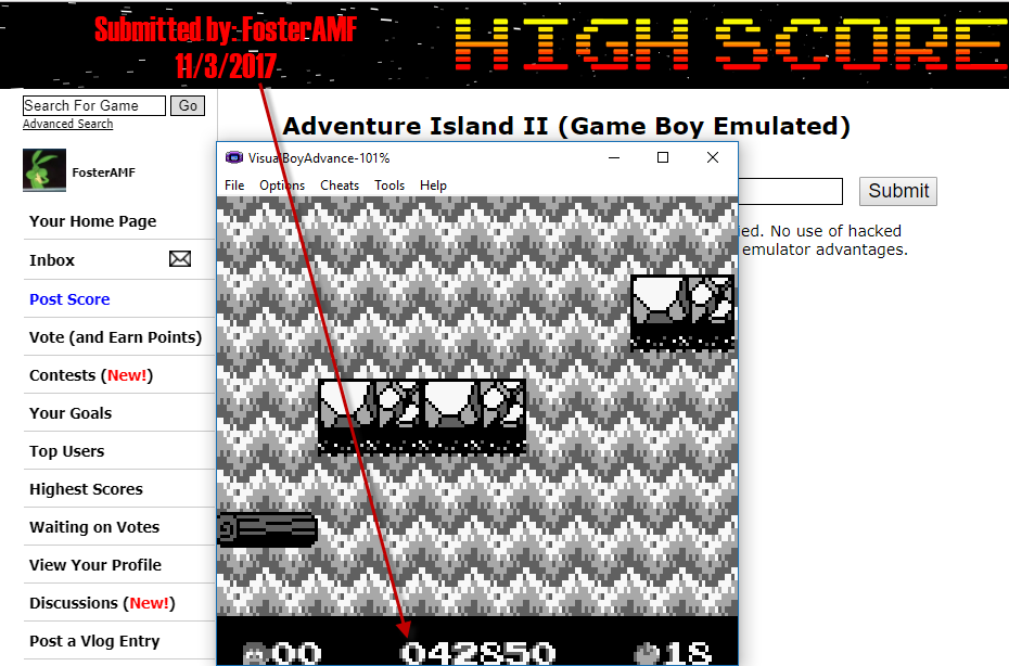 FosterAMF: Adventure Island II (Game Boy Emulated) 42,850 points on 2017-11-03 16:12:22