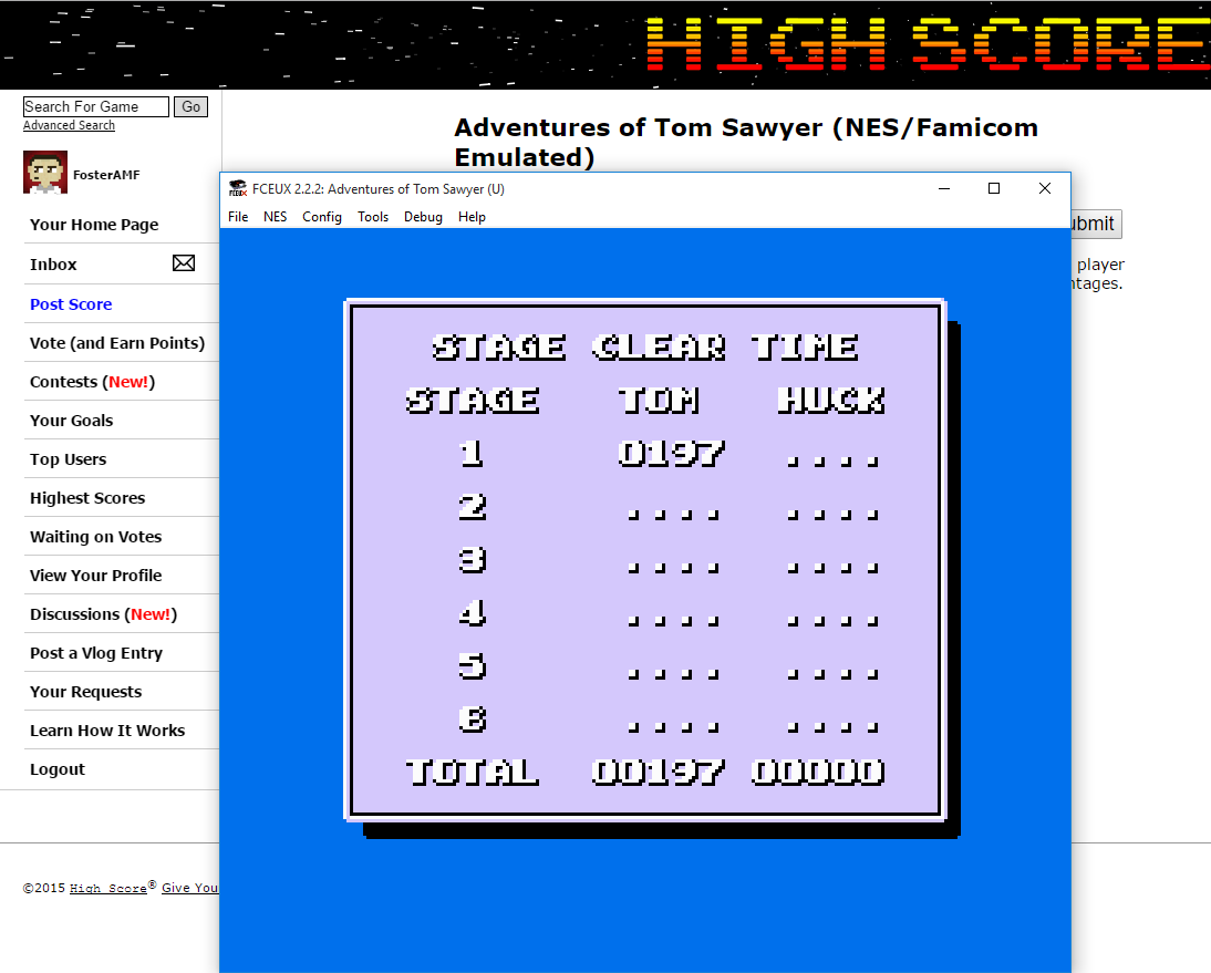 FosterAMF: Adventures of Tom Sawyer (NES/Famicom Emulated) 197 points on 2015-09-06 03:10:22