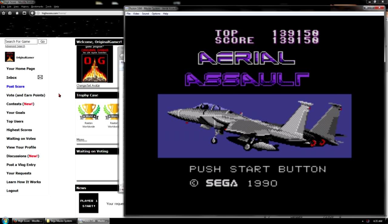 OriginalGamer: Aerial Assault (Sega Master System Emulated) 139,150 points on 2017-10-29 22:52:30