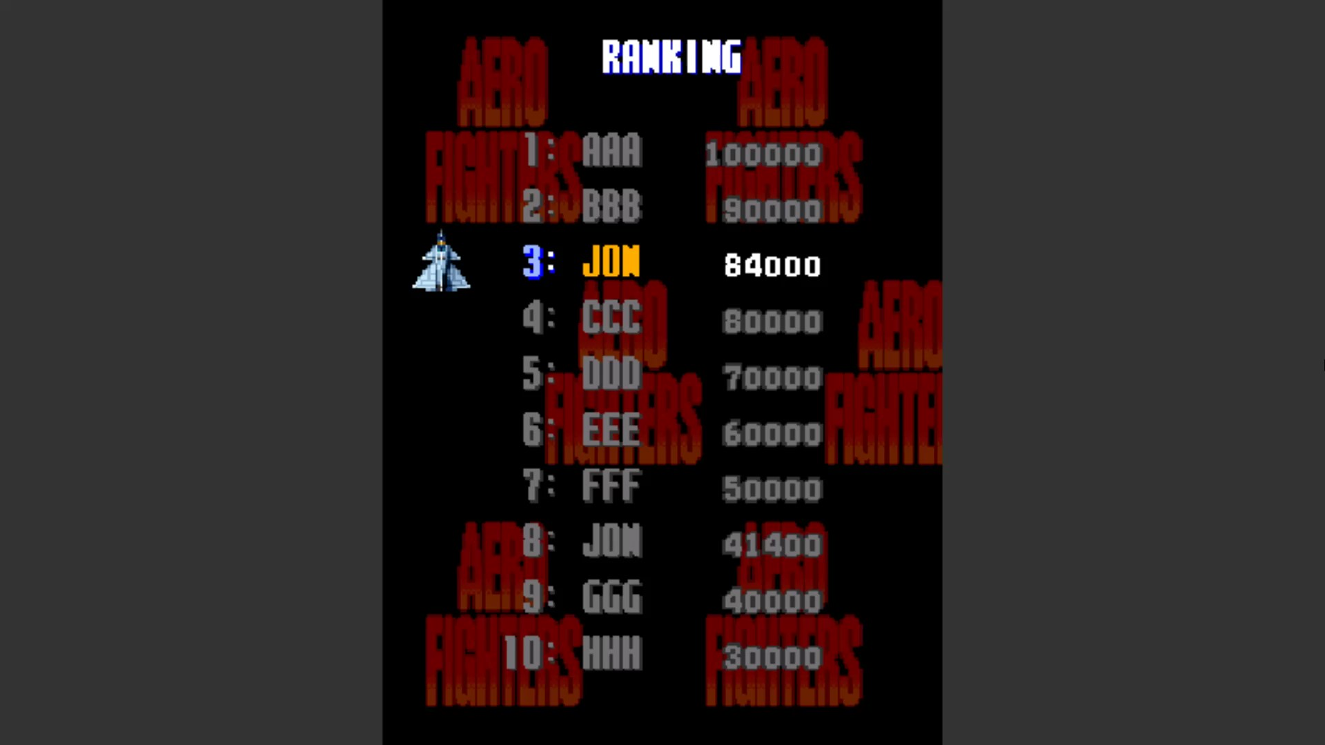 Aero Fighters 84,000 points