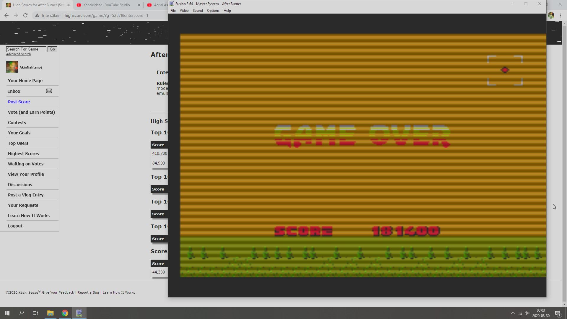 AkinNahtanoj: After Burner (Sega Master System Emulated) 181,400 points on 2020-08-29 17:09:56