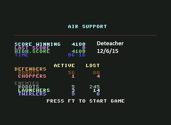 Deteacher: Air Support (Commodore 64 Emulated) 4,180 points on 2015-12-06 20:45:53