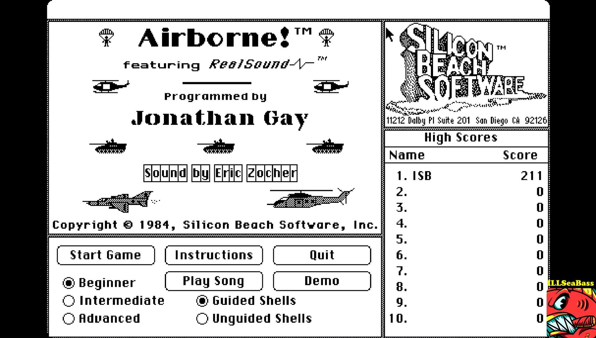 ILLSeaBass: Airborne! [Beginner] (Mac OS Emulated) 211 points on 2017-05-20 12:36:19